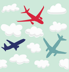 Seamless baby pattern with flying planes and cloud vector