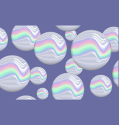 Seamless pattern holographic marbles vector