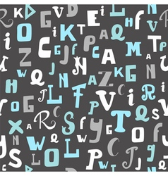 Seamless pattern with letters on grey background vector image