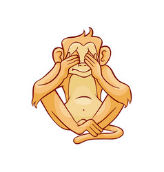 See no evil monkey covering eyes vector