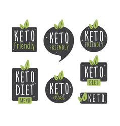 set badge keto diet flat ketogenic diet logo vector image