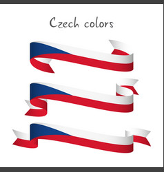 Set of three ribbon with the czech tricolors vector