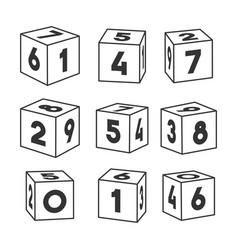 set outline toy bricks with numbers vector image