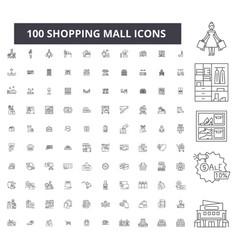 shopping mall editable line icons 100 set vector image