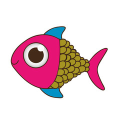 Silhouette color fish with big eye vector