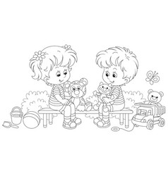 small children playing on a playground vector image