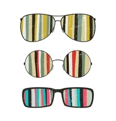 Sunglasses with striped reflection vector image