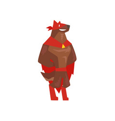 Superhero dog character standing super dog vector
