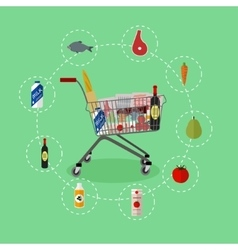 Supermarket shopping trolley cart with grocery vector