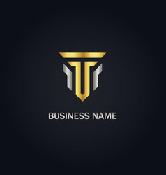 t initial gold company logo vector image