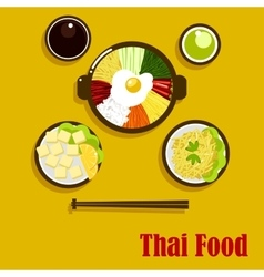 Thai cuisine dishes and sauces vector