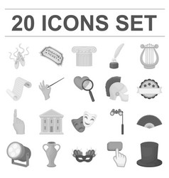 theatrical art monochrome icons in set collection vector image