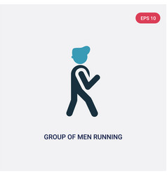 Two color group men running icon from people vector