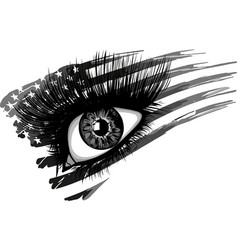 Usa flag in beautiful female eye vector