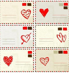 Valentine envelope with red heart sketch and place vector image
