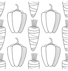 Vegetables black and white seamless vector
