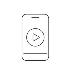video on smartphone outline icon vector image