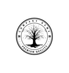 vintage retro dry dead oak banyan tree logo design vector image