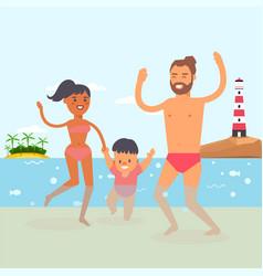 walking baat beach resort clear ocean water vector image