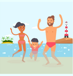 walking baby at beach resort clear ocean water vector image