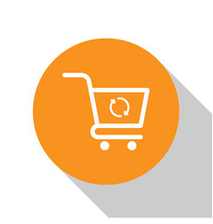 White refresh shopping cart icon isolated on white vector