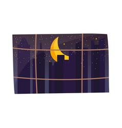 window moon starry night cityspace scene vector image