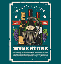 Winery red and white wine store champagne vector