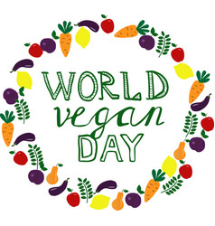 World vegan day template banner poster vector