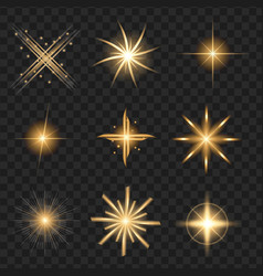 Yellow shine stars with glitters sparkles icons vector