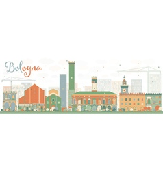 Abstract Bologna Skyline with Color Landmarks vector image vector image