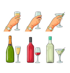 bottle and glass cocktail liquor wine champagne vector image vector image