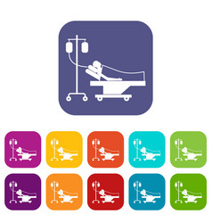 patient in bed on a drip icons set vector image vector image