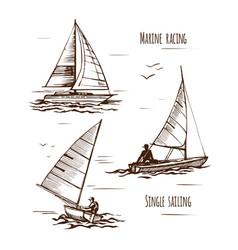 sea yachting single yachts vector image
