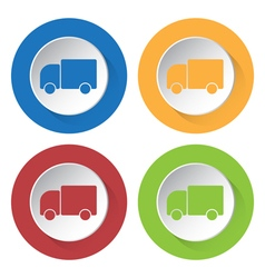 set of four icons with lorry car vector image