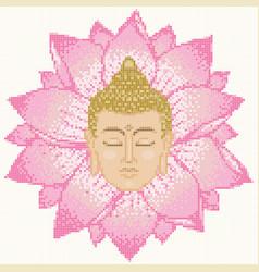 buddha head and lotus mosaic vector image