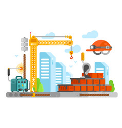 construction site design with bricks vector image vector image