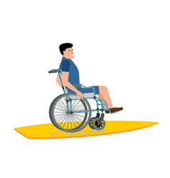 disabled surfer wheelchair on surfboard on white vector image