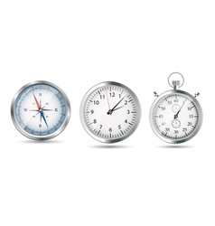 Glossy Compass watch and stopwatch set vector image