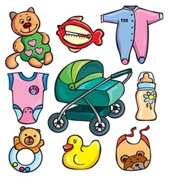 Newborn accessories icons set vector image vector image