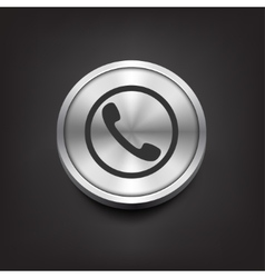 Phone handset icon on silver button vector image vector image