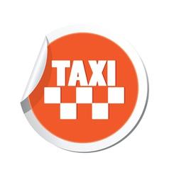 Taxi sign orange sticker vector