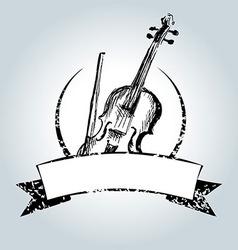 Vintage label with violin vector image