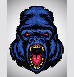 angry gorilla head vector image vector image