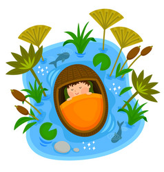 baby moses in the ark vector image vector image