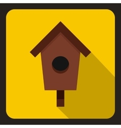 Birdhouse or nesting box icon flat style vector image