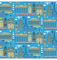 Europe travel coloured seamless pattern vector image vector image