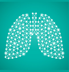 Human lungs isolated on a green background vector