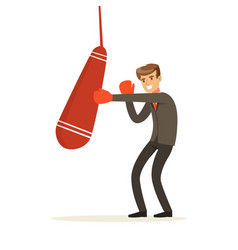 Smiling businessman in boxing gloves hitting a vector