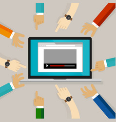 video watching editing comment on internet hands vector image vector image