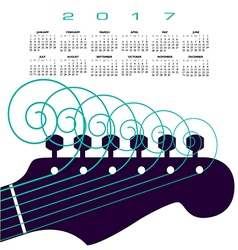 A 2017 calendar with a guitar with curly strings vector image vector image